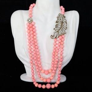 Amrita Singh Rhinestone Leaf Coral Pearl Necklace